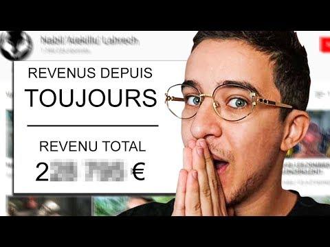 Voila le revenu total généré par ma chaîne YouTube!