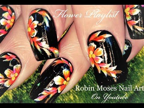 DIY Neon Flower Nails | Black and White Nail Art Design Tutorial