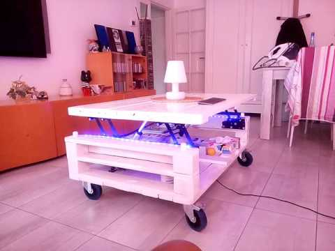 Palette table basse led 2 hauteurs verin electrique youtube - Table basse rouleau electrique ...