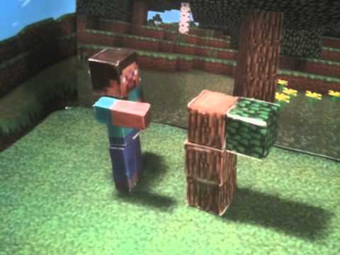 Papercraft Minecraft papercraft stop motion adventure - Episode 1 - Spawning