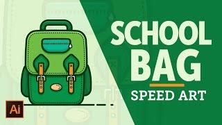 How to Draw School Bag | School Bag Illustration | Speed Art