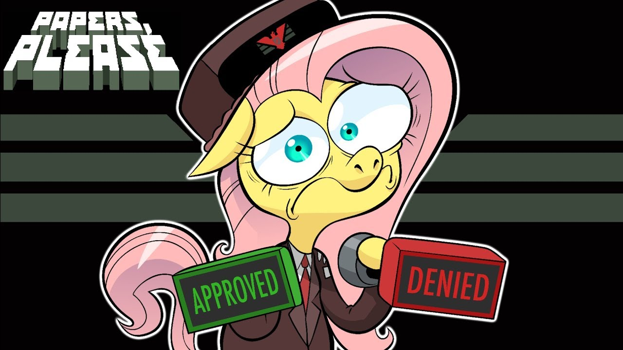 fluttershy-plays-papers-please-glory-to-equestria