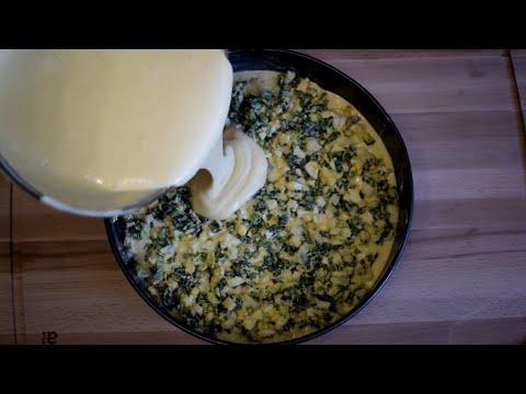 Вместо пирожков. ЛЕНИВЫЙ пирог с зеленым луком и яйцом, рецепт теста на кефире и сметане.