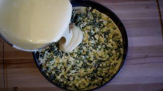 Вместо пирожков ЛЕНИВЫЙ пирог с зеленым луком и яйцом рецепт теста на кефире и сметане
