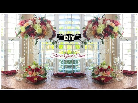 DIY Tall  Flower Ghost Stand Crystal Lighted Wedding Centerp
