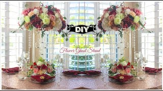 DIY Tall  Flower Ghost Stand Crystal Lighted Wedding Centerpiece | Tutorial