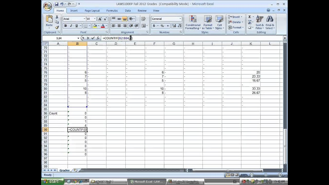 Creating A Frequency Distribution Of Grades In Excel