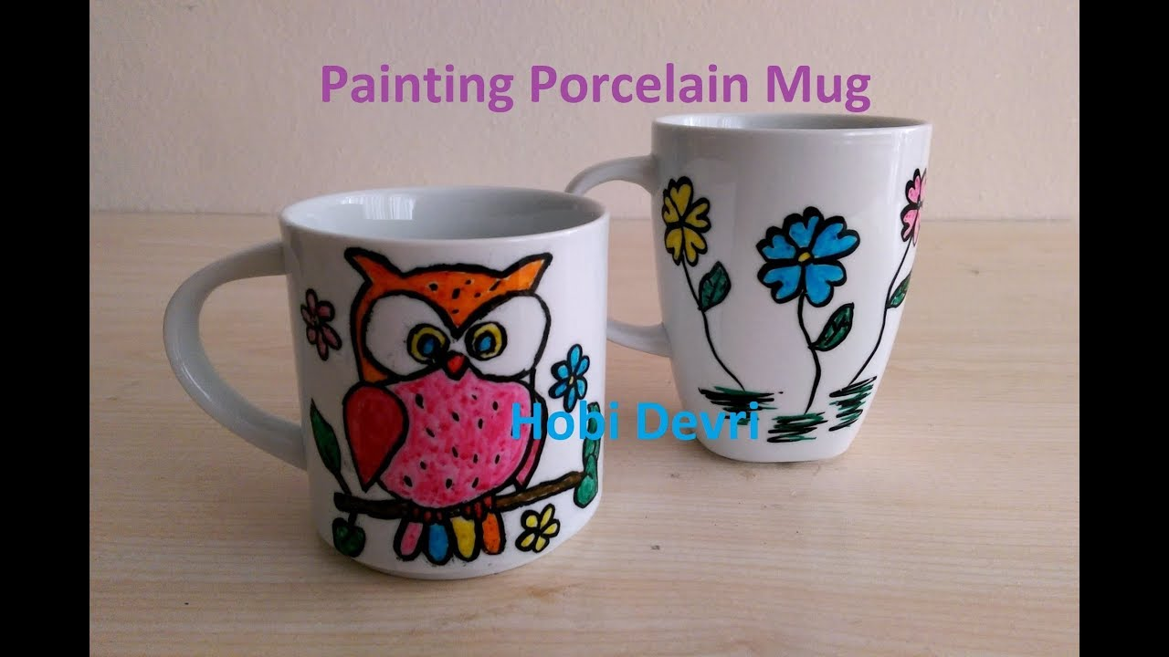 Diy Painting With Porcelain Pens On The Mug Porselen Kalemi Ile