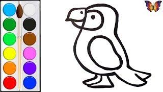 Как нарисовать ЯРКОГО ПОПУГАЯ / мультик раскраска ПОПУГАЙ  для детей / Раскраски малышам