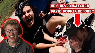 HIS FIRST TIME REACTING to DAVID DOBRIK    MOST DANGEROUS MOMENTS!!