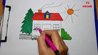 Tô màu Ngôi Trường mầm non - Trò chơi trẻ em tô màu - TV OSCAR