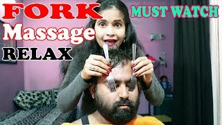 Fork Therapy Head massage for relax your mind - ASMR The Cosmic Lady barber