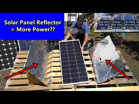 Solar Panel + DIY Light Reflectors = More Power? Renogy vs Rich Solar vs Flexible Panel