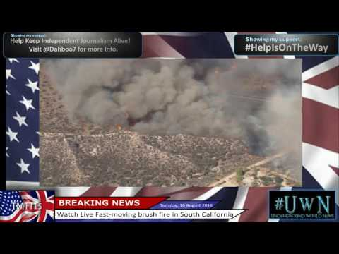 Watch Live Fast-moving brush fire in San Bernardino, South California.