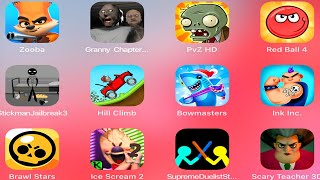 Granny 2,Plants vs Zombies,Red Ball 4,Stickman Jailbreak,Hill Climb Racing,Scary Teacher,Ice Scream