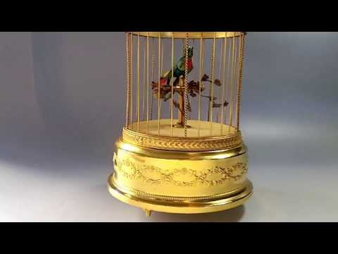 Reuge singing bird in cage Musical box Automata