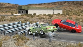 Beamng drive - Multiple Safety Barriers car Crashes