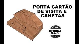 Porta cartão de visita de madeira roxinho