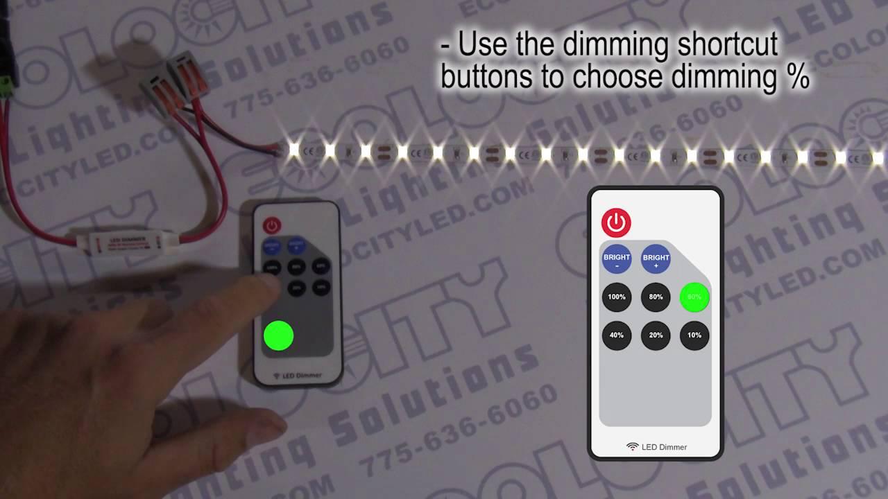 Mini Led Dimmer With Rf Remote For 5 24vdc Led Lights