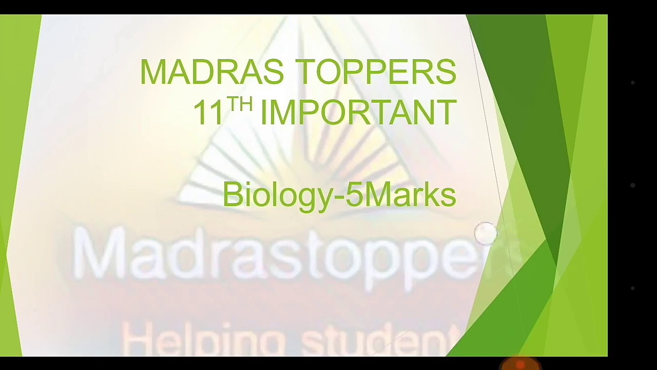 11th Biology important 5 marks