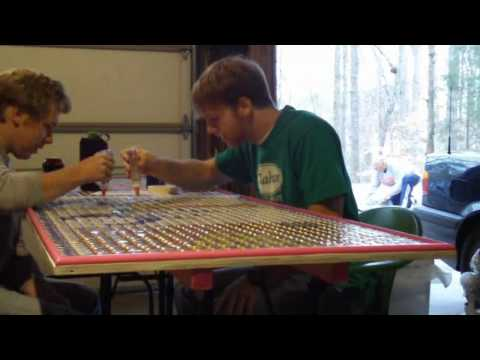 Gluing 2,100 Bottle Caps to the Table