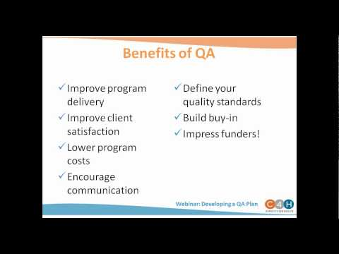 WEBINAR:  Developing a Quality Assurance Plan