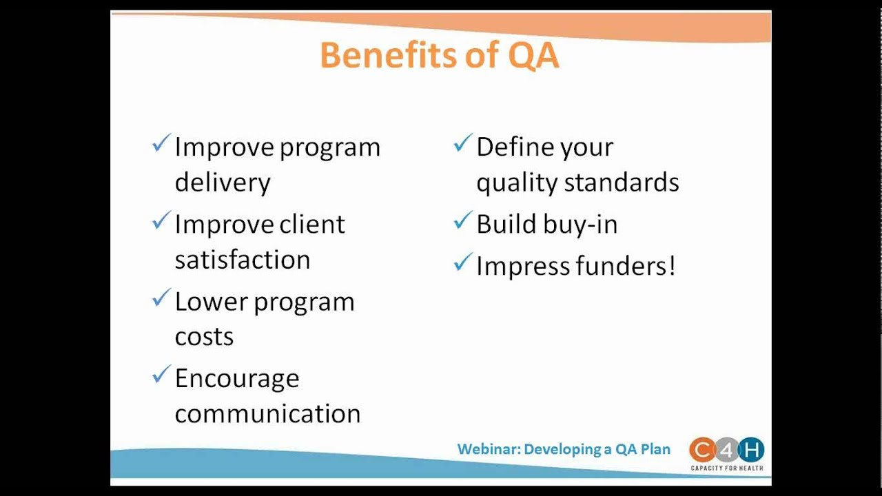 WEBINAR: Developing a Quality Assurance Plan - YouTube