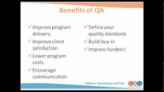 Webinar:  Developing A Quality Assurance Plan
