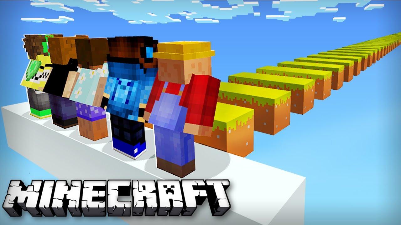 100 Игроков прыгают 100000 Блоков, Но всего одна Жизнь в Майнкрафт
