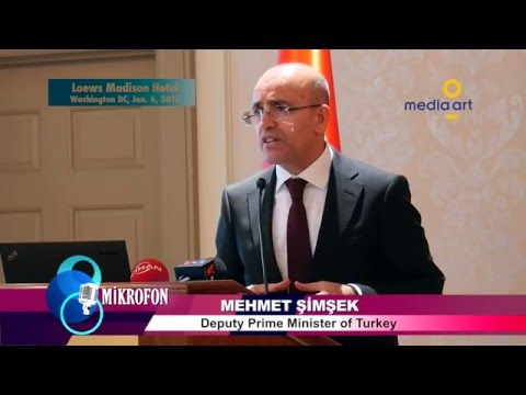 "Turkey's Deputy Prime Minister Mehmet Şimşek answering a question on ""Kurdish Issue"""