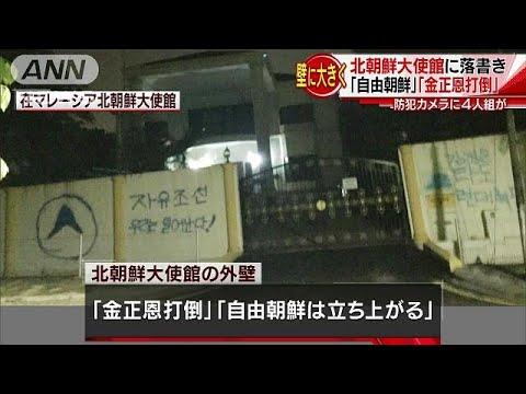 「金正恩打倒」 北朝鮮大使館の壁に大きく落書き(19/03/12)
