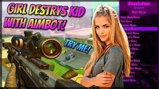 GIRL AIMBOT TROLLS A CONFUSED KID WITH A MOD MENU! (Black Ops 2 VOICE TROLLING)