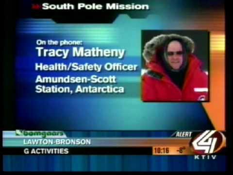 Tracy Matheny and the geographic South Pole.