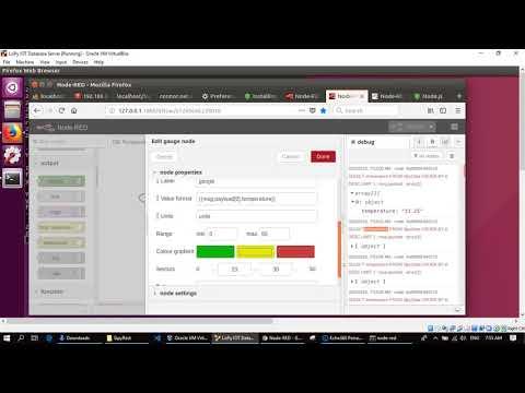 Node Red Flow   MySQL database query   Gauge dashboard display