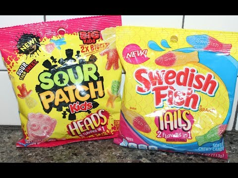 Sour Patch Kids Heads & Swedish Fish Tails Soft Chewy Candy Review