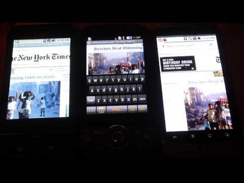 Nexus 1, Samsung Behold II, an G1 speed test