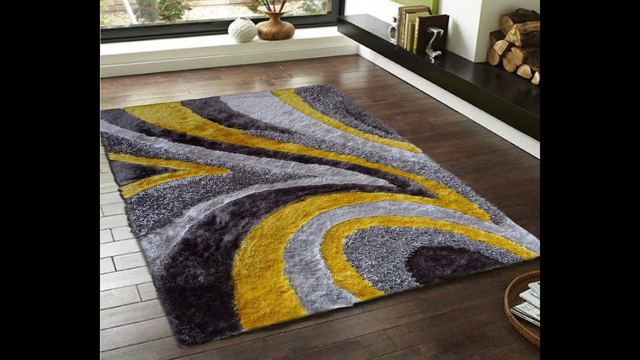 Grey With Yellow Plush Bedroom Area Rugs By Rug Addiction