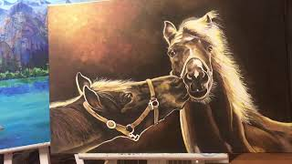 Horse Acrylic painting real ti…