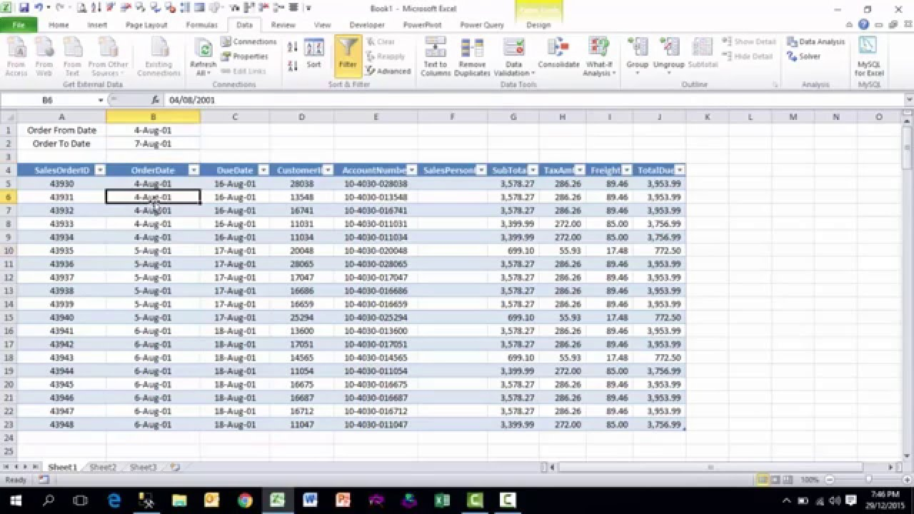 Running A Sql Stored Procedure In Excel Without Vba