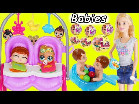 LOL Surprise Dolls Custom Lil Luxe + Barbie Babysits Big Sisters Fake vs Real DIY Series 3 GOLD Ball