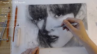 방탄소년단 '뷔' 목탄 듀토리얼 Charcoal Drawing Tutorial |BTS 'V(kim Tae-Hyung)'