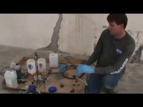 Concrete crack repair with the Hi-Tech 60002C epoxy injection pump