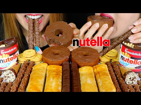ASMR NUTELLA CHOCOLATE CAKE, CHOCOLATE HAZELNUT CONE, DARK CHOCOLATE, PUFF PASTRY 먹방 | Kim&Liz ASMR