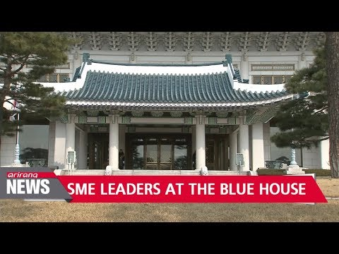 South Korean President Moon Jae-in dines with small and medium business leaders at the Blue House