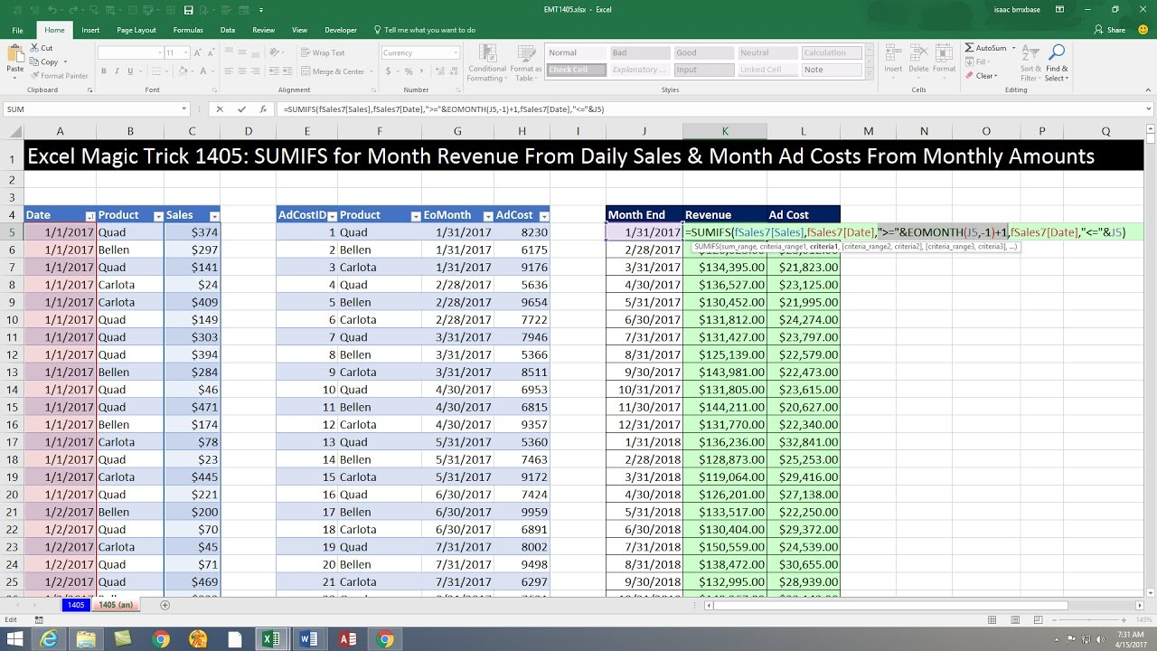 excel magic trick 1405  monthly totals report  sales from daily records  costs from monthly