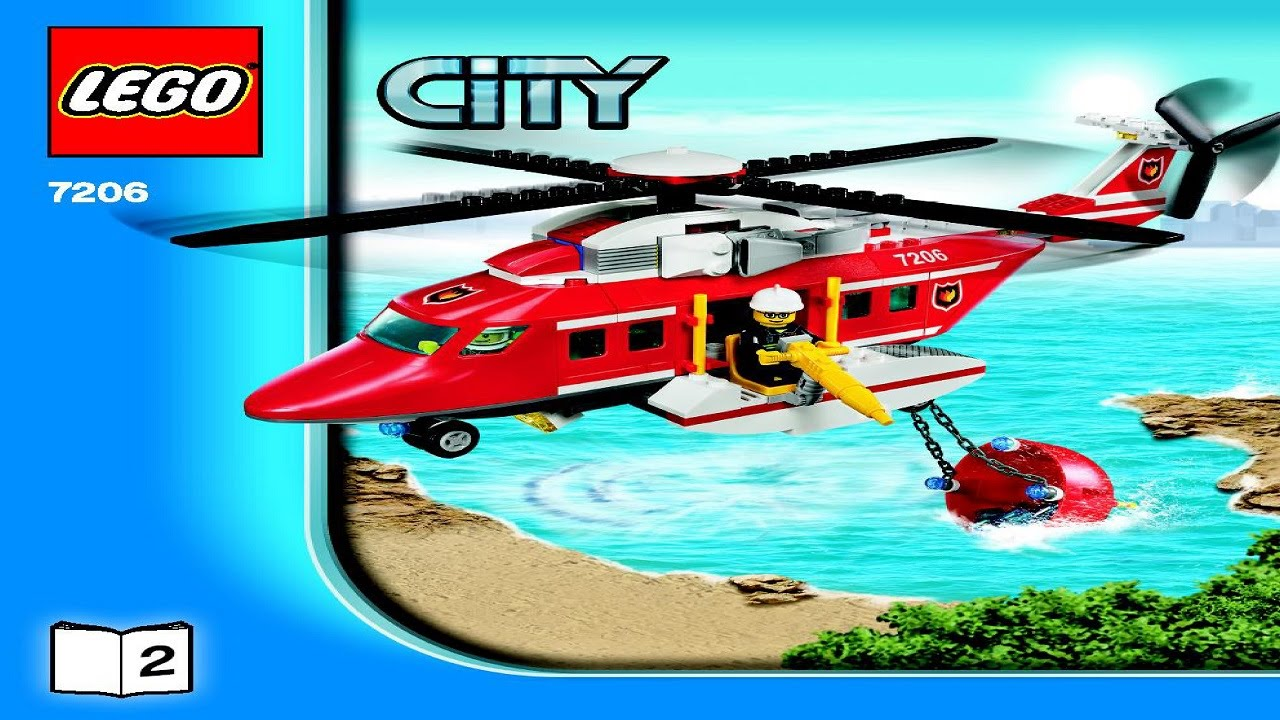 7206 Lego Fire Helicopter City Fire Instruction Booklet Youtube