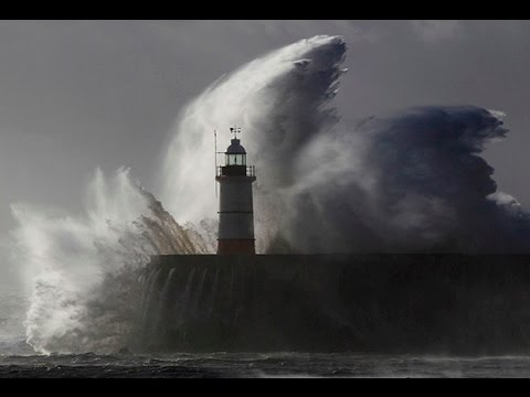 The Extreme Storm in Pacific Ocean. Ship in Storm 90ft waves