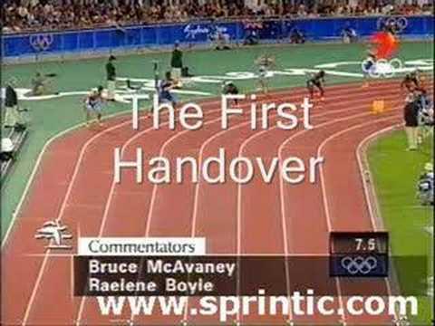 A close look at 4x100 relay mens final Sydney 2000