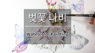 Watercolor 수채화 일러스트 벚꽃나비 그리기