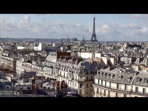 Paris ; Vue panoramique  de la terrasse du Printemps boulevard Haussmann ; France